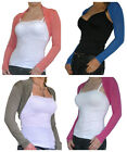 New Ladies Bolero Shrug Top Ladies Cropped Cardigan Long Sleeve Size 8 10 12 14