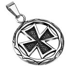 Stainless Steel Round Maltese or Celtic Cross Pendant w/ Necklace
