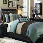 8pc Aqua Blue /Choco/Ivory Pintuck Striped Comforter Set Full Queen King CKing