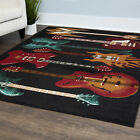 Acoustic Electric Guitar Black Area Rug Red Fender Musical Instrument Carpet