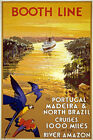 TW94 Vintage Booth Line Portugal Brazil Amazon Cruise Travel Poster Re-Print A4