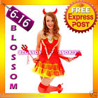 G56 Devil Ladies Horror Fancy Dress Halloween Costume Outfit Horns Pitch Fork