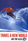 TW50 Vintage 1962 Skiing Aspen Colorado See USA Travel Poster A4