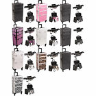 2 in1 Professional Aluminum Hairstylist Makeup Case Lockable Wheel Box I3161