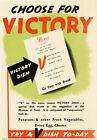 Vintage WWII British V Victory Dish Rationing War Poster Re-Print WW2 A4 3W4