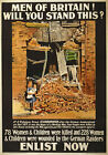 WA37 Vintage WWI Scarborough Bombing British Propaganda War Poster WW1 A4