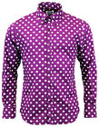 NEW SIXTIES MENS RETRO MOD PENNY DOT POLKA DOT SHIRT: Vintage Indie 60s Purple