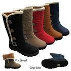 WOMENS LADIES WINTER BIKER FAUX FUR BUCKLE QUILTED FLAT SNOW MID CALF BOOTS SIZE