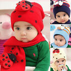 Children Baby Winter Warm Boy Girl Ladybug LadyBird Hat Caps + Scarf Suit Cute