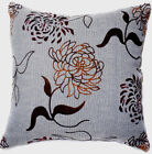 UF73a BLack Brown Velvet Flower on Ash Grey Cotton Cushion Cover/Pillow Case