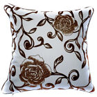 UF83a Brown Rose Flower Cream Velvet Style Cushion Cover/Pillow Case Custom Size