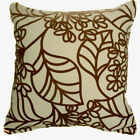 UF174a Brown Leaf on Beige Velvet Style Cushion Cover/Pillow Case *Custom Size