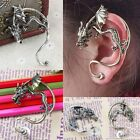 1Pc Punk Bronze/Silvery Curled Flying Dragon Wings Clip-On Cuff Ear Stud Earring
