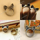 1PC Hot Korean Retro Vintage Cute Silver Brass Cat Ears Ring Animals 1.75cm