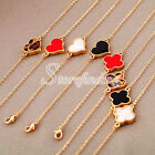 1PC Korean Lucky Clover Hearts Alloy Bracelet Chain15+5cm Pendant 1.6*1.6cm