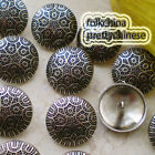 Silver Curvefloral 22mm  Metal Buttons Sewing Collectable Craft MB011