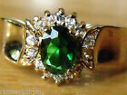 NEW GOLD PLATED EMERALD & DIAMOND ZIRCONIA RING SIZE J L N M O P R T S W #4123