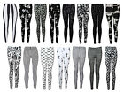 NEW BLACK WHITE CROSS STRIPE PEACE SKULL LOVE PARIS PRINT STRETCHY LEGGINGS 8-16