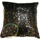 Ga009a Black Gold 6mm Sequins w/ Velvet Cushion Cover/Pillow Case*Custom Size*