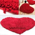 Fluffy Rug Floor Bedroom/Door/Bath mat Red Love Heart Chenille Carpet