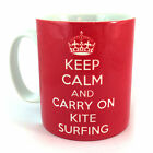 KEEP CALM AND CARRY ON KITE SURFING MUG CUP KITESURFING KITEBOARDING SURFER