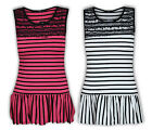 Ladies Top Womens Lace Stripe Print Flared Mini Dress Crew Sleeveless Clubwear