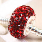 Garnet Crystal 925 Sterling Silver Birthstone European Charms Beads Fit Bracelet