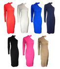 NEW LADIES RED BLUE POLO NECK ONE LONG SLEEVE CUT OUT JERSEY MIDI DRESS 8-14