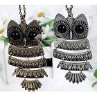 1PC Vintage Ancient Brass Bronze Silver Owl Pendant 8*4.2cm Necklace Chain 70cm