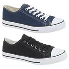 Mens Boys New Navy / Black Canvas Lace up Plimsoles Summer Shoes 6 - 12