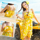 Women Green Yellow Orange Summer Beach Dress Bohemia Flouncing Suspender Skirt Z