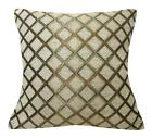 Wd36Ba Light Tan Damask Chenille Check Throw Cushion Cover/Pillow Case Cust-Size