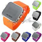 Men Lady Mirror LED Date Day Silicone Rubber Band Digital Sport Wrist Watch Gift