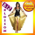 J9 Ladies Cleopatra Egyptian Goddess Roman Fancy Dress Halloween Costume Outfit