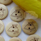 Natural Color Iron 2 Hole 20mm Wood Buttons Sewing Scrapbooking Craft C015