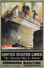 TX204 Vintage United States Line Cruise Ship Shipping Travel Poster Re-Print A4