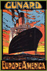 TX217 Vintage Cunard Europe To America Cruise Ship Travel Poster Re-Print A2/A3