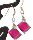 Diagonal Cube FUCHSIA Pink Crystal Earrings Swarovski Elements Sterling Silver