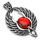 Stainless Steel Phoenix Wings with Red Orb Pendant w/ Necklace