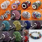 Bulk Sale Crystal Rhinestone Resin Big Hole Charm Beads Fit European EP Bracelet