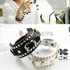 Unisex Cool Punk Rivet Buckle Faux Leather Bracelet Bangle Wrist Band HFUK