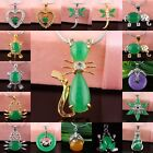Purple/Emerald Green Jade Clear Crystal Rhinestone Gemstone Charms Pendant Beads