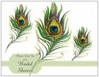 WEDDING Bridal SHOWER 3 PEACOCK  FEATHERS Postcards or Flat Cards Env Seals