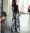 Women's Wide Leg Pants Splash-ink Pants Black And White Flowers And Plants S M L