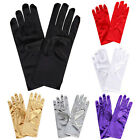 Ladies Short Smooth Satin Wrist Gloves Great For Wedding Evening Prom