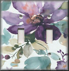 Light Switch Plate Cover - Watercolor Flowers - Purple Floral Home Decor