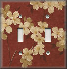 Light Switch Plate Cover - Red And Tan Flowers - Floral Home Decor