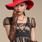 "70cm(27.6"") long plain style top quality leather evening/opera gloves*burgundy"