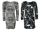 NEW LADIES BLACK WHITE SKULL PRINT LONG SLEEVE BODYCON DRESS TOP  SIZE 8-18