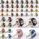 Crystal Rhinestone Flower Striped True 925 Sterling Silver European Charms Beads